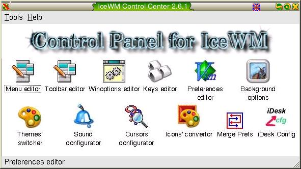 A screenshot of IceWM Control Center